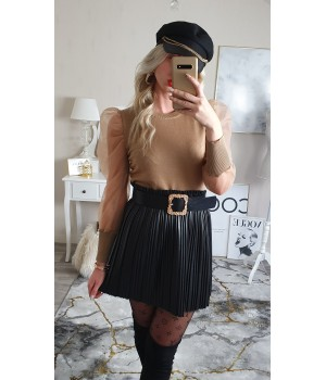 Pull manches tulle taupe