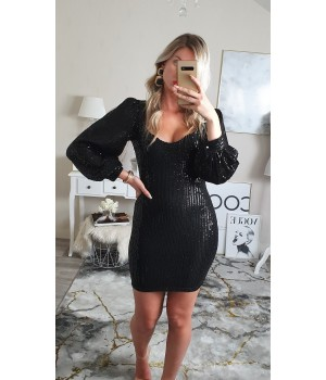 Robe black sequins manches...