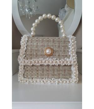 Sac tweed nude perles