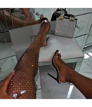 Legging résille strass