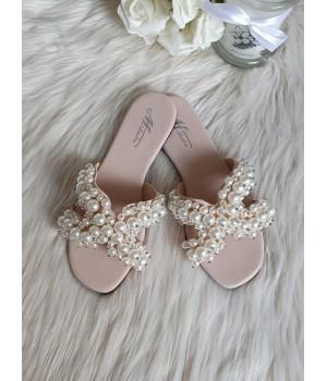 Claquettes perles white