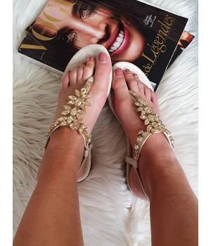 Sandales bijoux doré
