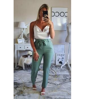 Pantalon taille haute vert...