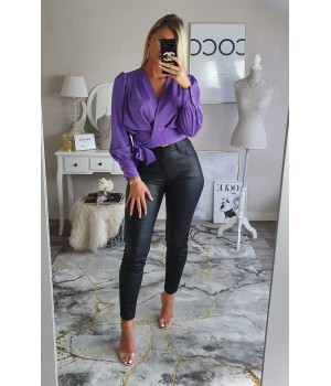 Blouse purple noeud