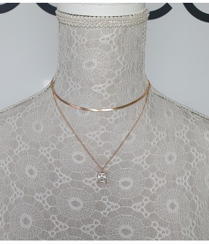 Collier doré diamant