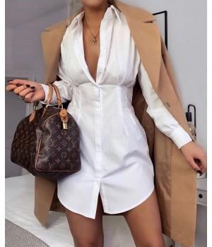 Robe chemise blanche cintré