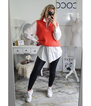 Pull sans manches corail sweat
