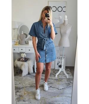 Robe jeans bleu coton