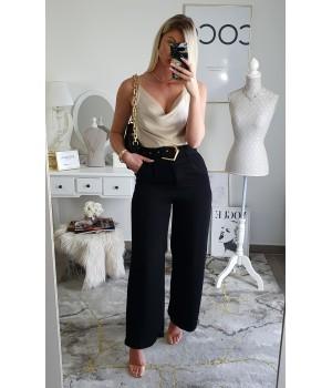 Pantalon fluide black doré