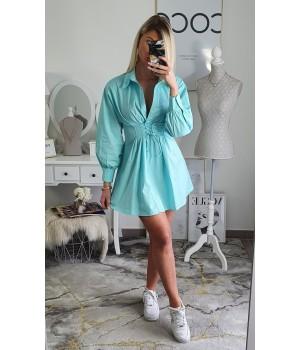 Robe chemise turquoise corset