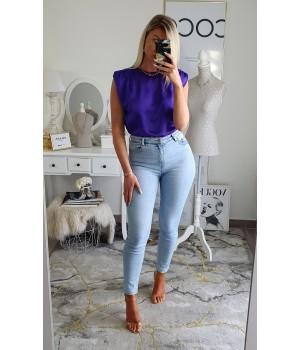 Top satin épaulettes purple