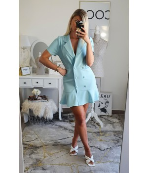 Robe inspi blazer turquoise