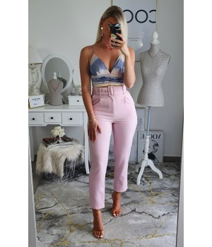 High-waisted pink trousers