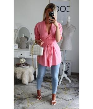 Chemise coton rose corset