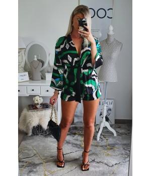 Green shorts kimono set