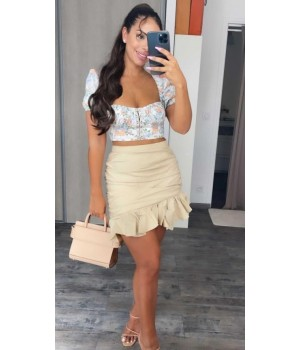 Beige draped asymmetry skirt