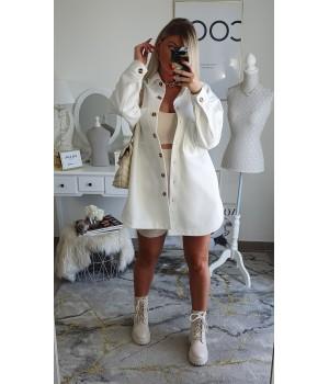 Loose white fleece jacket