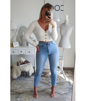 Jeans mom fit bleu