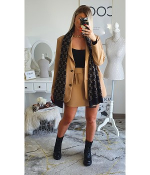 Set blazer skirt camel