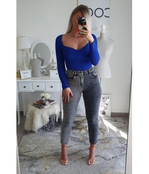 Grey bi-color mom jeans