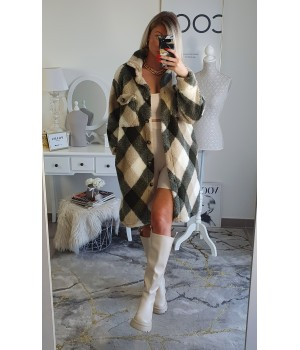 Coat mi-long kaki/beige