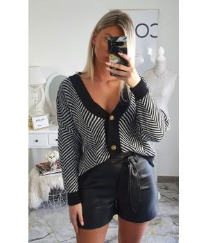 Cardigan rayures black/white