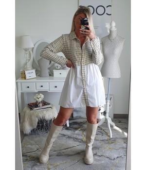 Beige tweed dress