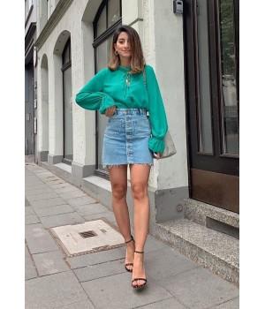 Blue button jeans skirt