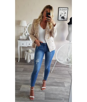 Jeans bleu skinny détails