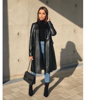 Coat simili cuir black