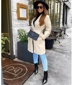 Manteau coat beige à nouer